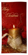 Candle Light Christmas Card Beach Towel