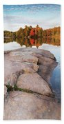 Canoe At A Rocky Shore Autumn Nature Scenery Beach Towel