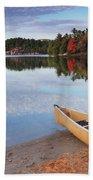 Canoe On A Shore Autumn Nature Scenery Beach Towel