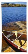 Canoe On Shore Beach Towel