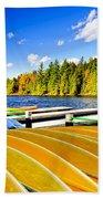 Canoes On Autumn Lake Beach Towel