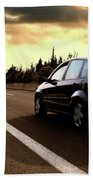 Car On The Road During Sunset Beach Towel