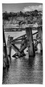 Cardiff Bay Old Jetty Supports Mono Beach Towel