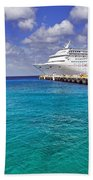 Carnival Elation Docked At Cozumel Beach Towel