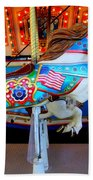 Carousel Horse With Flags Beach Towel