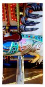 Carousel Horse With Leaves Beach Towel