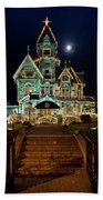 Carson Mansion At Christmas With Moon Beach Towel