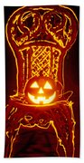 Carved Smiling Pumpkin On Chair Beach Towel