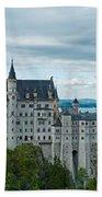 Castle Neuschwanstein With Surrounding Landscape Beach Towel