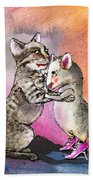 Cat And Mouse Reunited Beach Towel