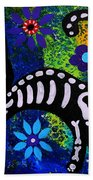 Cat Day Of The Dead Beach Towel