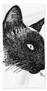 Cat Drawings 5 Beach Towel