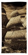 Catastrophic Collision-sepia Beach Towel by Lourry Legarde