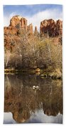 Cathedral Rock Reflections Landscape Beach Towel by Darcy Michaelchuk