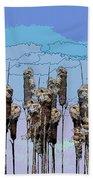 Cattail Blues Beach Towel