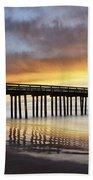 Cayucos Pier Reflected Beach Towel