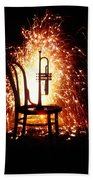 Chair And Horn With Fireworks Beach Towel
