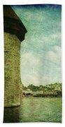 Chapel Bridge Tower In Lucerne Switzerland Beach Towel