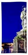 Charles Bridge Statue Of St John Of Nepomuk     Beach Towel by Jon Berghoff
