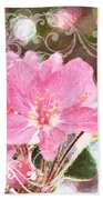 Cherry Blossom Art With Decorations Beach Towel