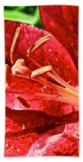 Cherry Red Lily Beach Towel