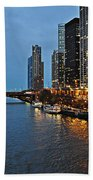 Chicago River At Twilight Beach Towel