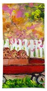 Chilrens Art-boy And Girl With Wagon And Puppies Beach Towel