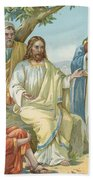 Christ And His Disciples Beach Towel