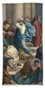 Christ At The Temple Beach Towel