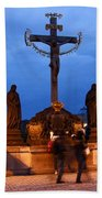 Christ Crucifixion Sculpture Beach Towel