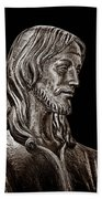 Christ In Bronze - Bw Beach Towel