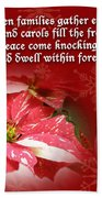 Christmas Card - Red And White Poinsettia Beach Towel