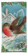 Christmas Card Depicting A Robin  Beach Towel