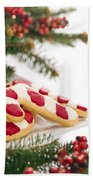 Christmas Cookies Decorated With Real Tree Branches Beach Towel