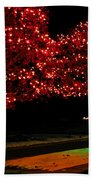 Christmas Lights Red And Green Beach Towel