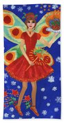 Christmas Pudding Fairy Beach Towel