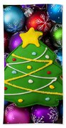 Christmas Tree Cookie With Ornaments Beach Towel