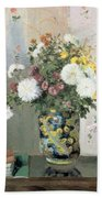 Chrysanthemums In A Chinese Vase Beach Towel