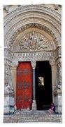 Church Entrance Arles France Beach Towel