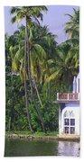 Church Located On A Coastal Lagoon In Kerala In India Beach Towel