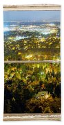 City Lights White Rustic Picture Window Frame Photo Art View Beach Towel