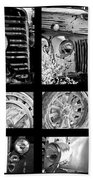 Classic Car Collage In Black And White Beach Towel