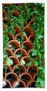 Clay Pattern Wall With Vines Beach Towel