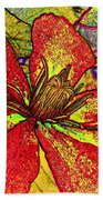 Clematis In Colored Pencil  Beach Towel