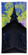 Clock Tower Night Beach Towel