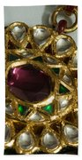 Close Up Of The Gold And Diamond Setting Of A Large Necklace Beach Sheet