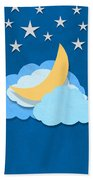 Cloud Moon And Stars Design Beach Towel