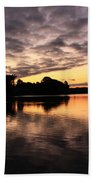 Clouds Going Away At Sunrise Beach Towel