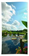 Cloudy Reflections And Lily Pad Companions  Beach Towel