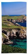 Coastal Cliffs And Seascape With Boat Beach Towel